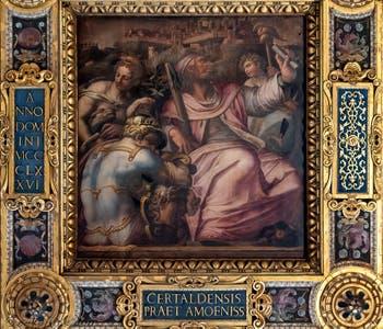 Giorgio Vasari et Jacopo Zucchi, Allégorie de Certaldo du quartier de Santo Spirito, Plafond de la Salle des Cinq-Cents du Palazzo Vecchio à Florence.