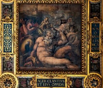 Giorgio Vasari, Giovanni Stradano et Jacopo Zucchi, Allégorie du Chianti, Plafond de la Salle des Cinq-Cents du Palazzo Vecchio à Florence.