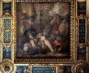 Giorgio Vasari et Giovanni Stradano, Allégorie de Colle Val d'Elsa et de San Gimignano, Plafond de la Salle des Cinq-Cents du Palazzo Vecchio à Florence.
