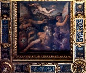 Giorgio Vasari et Giovanni Stradano, Allégorie de Cortona et Montepulciano, Plafond de la Salle des Cinq-Cents du Palazzo Vecchio à Florence.