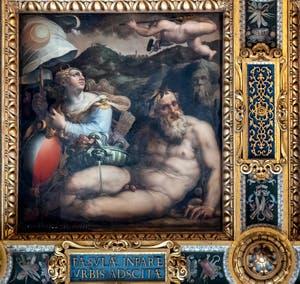 Giorgio Vasari et Giovanni Stradano, Allégorie de Fiesole, Plafond de la Salle des Cinq-Cents du Palazzo Vecchio à Florence.