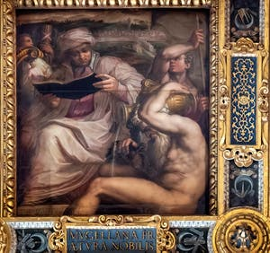 Giorgio Vasari et Giovanni Stradano, Allégorie du Mugello, Plafond de la Salle des Cinq-Cents du Palazzo Vecchio à Florence.