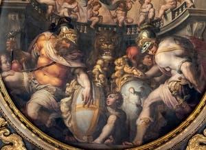 Giorgio Vasari, Allégories des quartiers de Santa Croce et Santo Spirito, Plafond de la Salle des Cinq-Cents du Palazzo Vecchio à Florence.