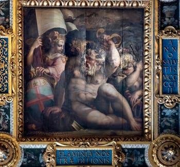 Giorgio Vasari et Giovanni Stradano,  Allégorie de la Romagne, Plafond de la Salle des Cinq-Cents du Palazzo Vecchio à Florence.