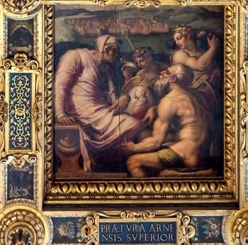 Giorgio Vasari et Giovanni Stradano, Allégorie de San Giovanni Valdarno, Plafond de la Salle des Cinq-Cents du Palazzo Vecchio à Florence.