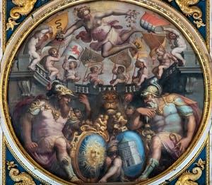 Giorgio Vasari, Allégorie des quartiers de Santa Maria Novella et San Giovanni, Plafond de la Salle des Cinq-Cents du Palazzo Vecchio à Florence.