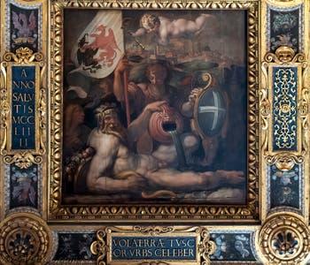 Giorgio Vasari, Allégorie de Volterra, Plafond de la Salle des Cinq-Cents du Palazzo Vecchio à Florence.