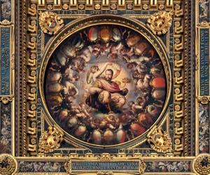 Giorgio Vasari et Giovanni Battista Naldini, L'Apothéose de Cosme Ier de Médicis au plafond de la Salle des Cinq-Cents du Palazzo Vecchio à Florence en Italie
