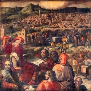 Giorgio Vasari et Giovanni Stradano, Arnolfo di Cambio présente le projet d'agrandissement de Florence, au plafond de la Salle des Cinq-Cents du Palazzo Vecchio à Florence en Italie.