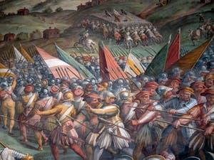 Giorgio Vasari, Bataille de Marciano ou Scannagallo à Val di Chiana, Cerca Trova, qui Cherche Trouve, le mystère de la bataille d'Anghiari de Léonard de Vinci dans la salle des Cinq-Cents du Palazzo Vecchio à Florence en Italie.