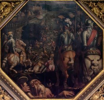 Giorgio Vasari et Giovanni Stradano, Bataille de Marciano en Val di Chiana, au plafond de la Salle des Cinq-Cents du Palazzo Vecchio à Florence en Italie.