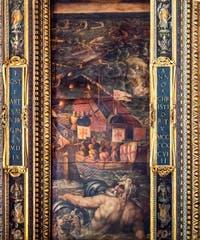 Giorgio Vasari et Giovanni Stradano, Bataille Navale entre Florentins et Pisans, Plafond de la Salle des Cinq-Cents du Palazzo Vecchio à Florence.