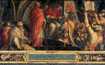 Giorgio Vasari, le Pape Clément IV donne son étendard au capitaine du parti des guelfes, au plafond de la Salle des Cinq-Cents du Palazzo Vecchio à Florence en Italie.