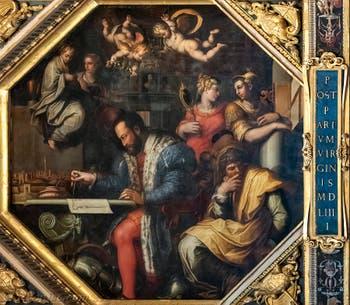 Giorgio Vasari et Giovanni Stradano, Le Duc Cosme Ier de Médicis étudie la prise de Sienne, au plafond de la Salle des Cinq-Cents du Palazzo Vecchio à Florence en Italie