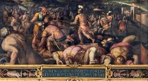 Giorgio Vasari et Giovanni Stradano, Défaite de Radagaise roi des Goths à Fiesole, au plafond de la Salle des Cinq-Cents du Palazzo Vecchio à Florence en Italie.