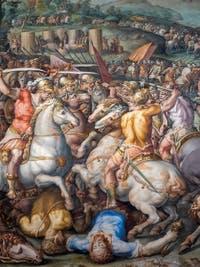Giorgio Vasari et Giovanni Battista Naldini, Guerre de Pise et défaite des Pisans à la tour de San Vincenzo, Salle des Cinq Cents du Palazzo Vecchio à Florence en Italie