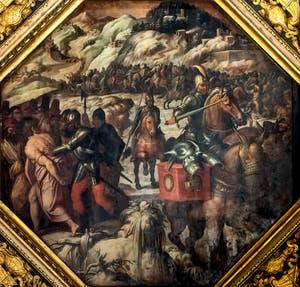Giorgio Vasari et Giovanni Stradano, Défaite des Vénitiens à Casentino, Plafond de la Salle des Cinq-Cents du Palazzo Vecchio à Florence.