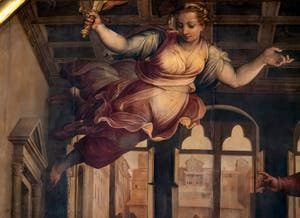Giorgio Vasari et Giovanni Stradano, Délibération sur la Guerre de Pise et harangue d'Antonio Giacomini Plafond de la Salle des Cinq-Cents du Palazzo Vecchio à Florence.