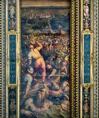 Giorgio Vasari et Giovanni Stradano, Défaite des Turcs à Piombino, au plafond de la Salle des Cinq-Cents du Palazzo Vecchio à Florence en Italie.