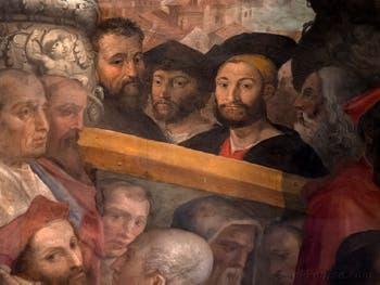 Giorgio Vasari, Michel-Ange, Laurent II de Médicis, duc d'Urbino, Julien de Médicis, duc de Nemours et Léonard de Vinci, Palazzo Vecchio à Florence en Italie