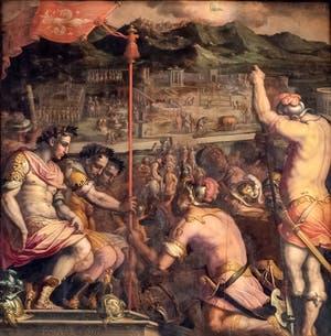 Giorgio Vasari et Giovanni Stradano, La Fondation de Florence Colonie Romaine, au plafond de la Salle des Cinq-Cents du Palazzo Vecchio à Florence en Italie