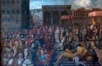 Giorgio Vasari, La Visite à Florence du pape Léon X, Palazzo Vecchio à Florence en Italie