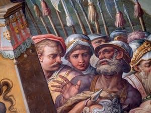 Giorgio Vasari et Giovanni Battista Naldini, Guerre de Pise et levée du siège de Livourne par l'empereur du Saint-Empire Maximilien I, Salle des Cinq-Cents du Palazzo Vecchio à Florence en Italie