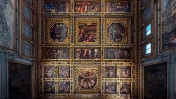 Giorgio Vasari, Giovanni Battista Naldini, Giovanni Stradano, plafond Salle des Cinq Cents, Cinquecento, Palazzo Vecchio à Florence en Italie