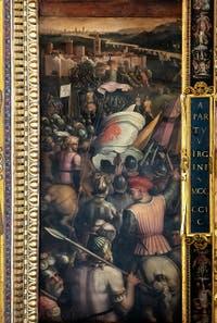Giorgio Vasari et Giovanni Stradano, Prise de Cascina, Plafond de la Salle des Cinq-Cents du Palazzo Vecchio à Florence.