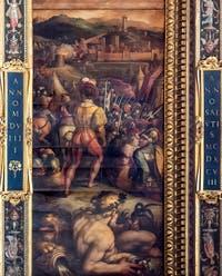Giorgio Vasari et Giovanni Stradano, Prise de Vicopisano, Plafond de la Salle des Cinq-Cents du Palazzo Vecchio à Florence.
