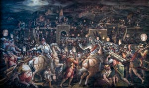 Giorgio Vasari et Giovanni Battista Naldini, Guerre de Sienne et prise du fort de la Porta Camollia, Salle des Cinq-Cents du Palazzo Vecchio à Florence en Italie
