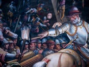 Giorgio Vasari et Giovanni Battista Naldini, Guerre de Sienne et prise du fort de la Porta Camollia, Gian Giacomo de Médicis, marquis de Marignan également connu sous le nom de Medeghino, Salle des Cinq-Cents du Palazzo Vecchio à Florence en Italie