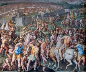 Giorgio Vasari et Giovanni Battista Naldini, Guerre de Pise et prise de la forteresse de Stampace à Pise, Salle des Cinq-Cents du Palazzo Vecchio à Florence en Italie