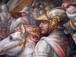 Giorgio Vasari, Guerre de Sienne et prise du port d'Ercole, le condottiere Gian Giacomo de Médicis, marquis de Marignan, Salle des Cinq-Cents du Palazzo Vecchio à Florence en Italie
