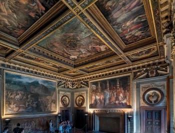 Giorgio Vasari, Giovanni Stradano, Salle Giovanni de Médicis, Pape Léon X, Palazzo Vecchio à Florence Italie