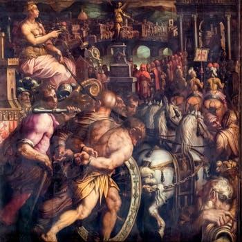 Giorgio Vasari et Giovanni Stradano, Le Triomphe après la Guerre de Pise, Plafond de la Salle des Cinq-Cents du Palazzo Vecchio à Florence.