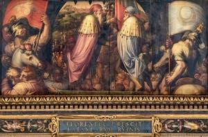 Giorgio Vasari et Giovanni Stradano, Union de Florence et Fiesole, Plafond de la Salle des Cinq-Cents du Palazzo Vecchio à Florence.