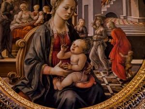 Filippo Lippi, Vierge à l'Enfant, naissance de la Vierge, rencontre avec ses parents, 1452-1455, galerie Palatina Pitti, Florence Italie