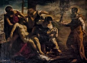 Le Tintoret, Jacopo Robusti, Descente de Croix, 1565, galerie Palatina Pitti, Florence Italie