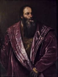 Le Titien, Tiziano Vecellio, Portrait de l'Arétin, 1545, Galerie Palatina Pitti, Florence Italie