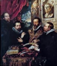 Pierre Paul Rubens, Autoportrait avec son frère Philippe Rubens, Juste Lipse et Jan Woverius, les quatre philosophes, 1612, galerie Palatina Pitti, Florence Italie