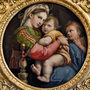 Raphaël, Vierge à l'Enfant et Saint-Jean-Baptiste enfant, la Madonna della Seggiola, 1512, Galerie Palatina Pitti, Florence Italie