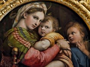 Raphaël, Vierge à l'Enfant et saint Jean-Baptiste enfant, la Madonna della Seggiola, 1512, Galerie Palatina Pitti, Florence Italie