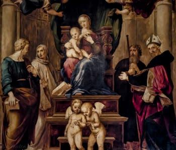 Raphaël, Vierge à l'Enfant en trône et saint Pierre et saint Bernard dite Vierge du Baldaquin, 1508, Galerie Palatina Pitti à Florence Italie