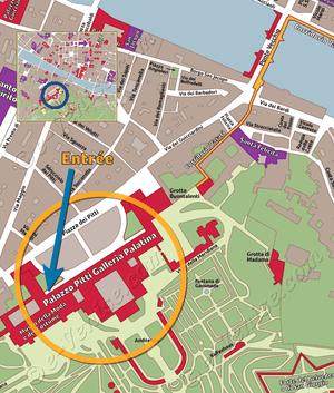 Plan de Situation du Jardin Boboli à Florence Italie