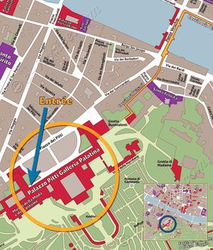Plan de Situation du Palais Pitti Galerie Palatina Florence Italie