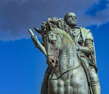 Giambologna, Monument équestre de Cosimo Cosme Ier de Médicis, 1594-1598, Piazza della Signoria à Florence Italie