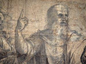 Raphaël Sanzio, Croquis préparatoire de l'école d'Athènes à la pinacothèque Ambrosiana de Milan