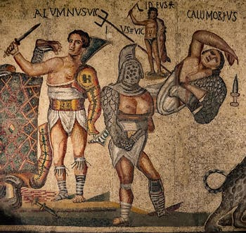 Le gladiateur Alumnus, mosaïque, galerie Borghese à Rome en Italie