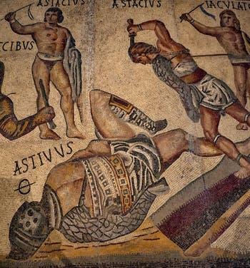Combats de gladiateurs, mosaïque, galerie Borghese à Rome en Italie